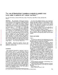 The use of bioelectrical impedance analysis to predict total body ...