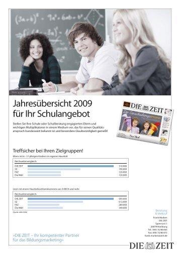 Jahresübersicht 2009 für Ihr Schulangebot - Die Zeit