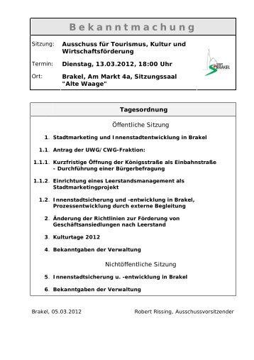 Bekanntmachungen vom 08. März 2012 - Stadt Brakel