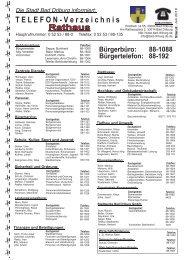 Telverzeichnis Bad Driburg Juli 2010