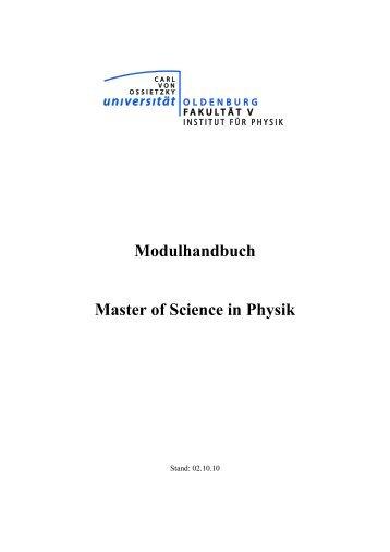 Modulhandbuch Master of Science in Physik - Institut für Physik