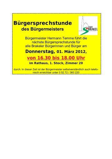 Bekanntmachungen vom 23. Februar 2012 - Stadt Brakel