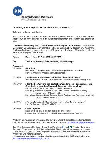 Einladung zum Treffpunkt Wirtschaft PM am 29. März 2012