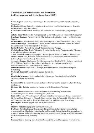 Verzeichnis der Referentinnen und Referenten - Katholische ...