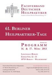 61. Berliner Heilpraktiker-Tage - Berliner HP Nachrichten