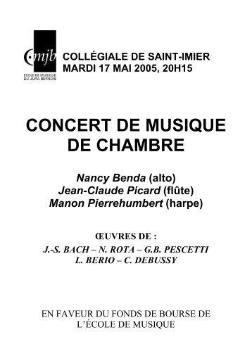 Manon Pierrehumbert (harpe) ŒUVRES DE : J.-S. BACH - EMJB