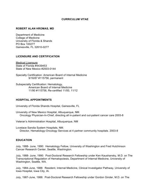Hromas CV - Department of Medicine - University of Florida