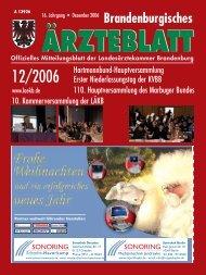 Brandenburgisches Ärzteblatt 12/2006 - Landesärztekammer ...