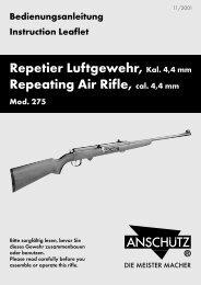 Repetier Luftgewehr, Kal. 4,4 mm Repeating Air Rifle, cal. 4,4 mm