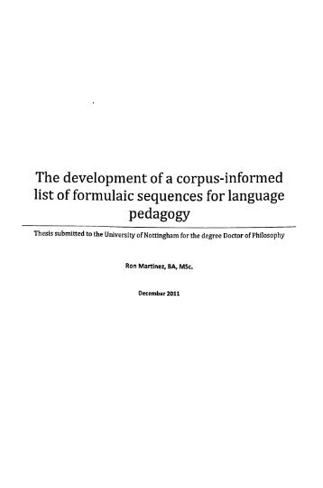 A thesis submitted for the degree of