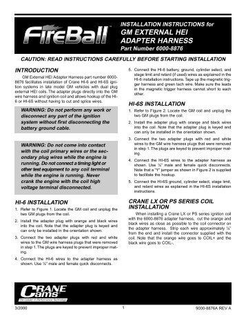 GM EXTERNAL HEI ADAPTER HARNESS - Crane Cams