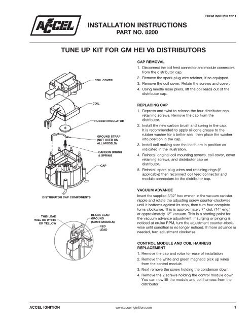 ACCEL GM HEI Distributor Tune Up Kit Instructions Part#: 8200Yumpu