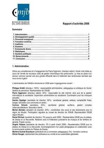 Rapport d'activités 2008 - EMJB