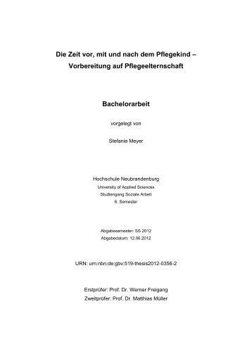Vorbereitung auf Pflegeelternschaft Bachelorarbeit - Hochschule ...