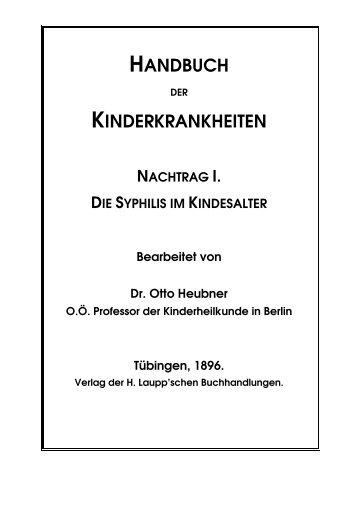 Die Syphilis im Kindesalter - Kathrin von Basse