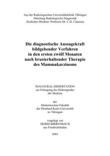 Die diagnostische Aussagekraft bildgebender Verfahren in den ...