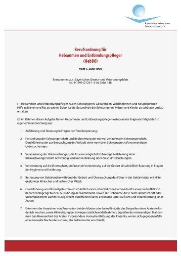 Berufsordnung für Hebammen und Entbindungspfleger (HebBO)