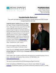 Vonderheide Returns! - Virginia Symphony Orchestra