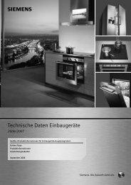 Technische Daten Einbaugeräte - Siemens