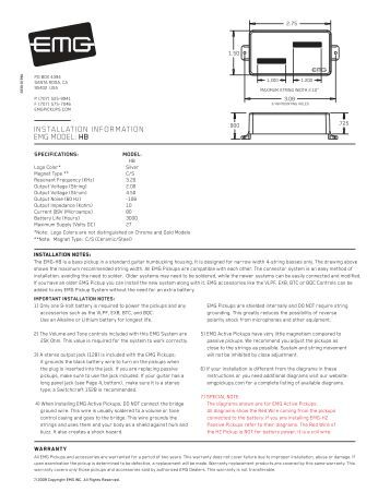 INSTALLATION INFORMATION EMG MODELS: TB-HZ PICKUP