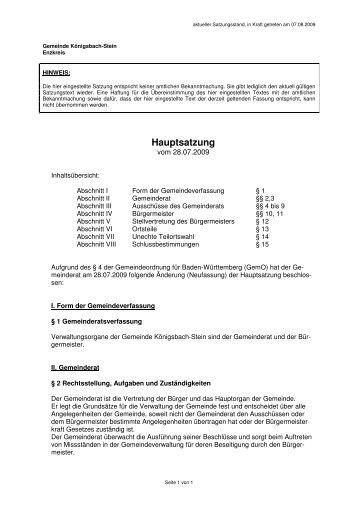 Hauptsatzung - Gemeinde Königsbach-Stein