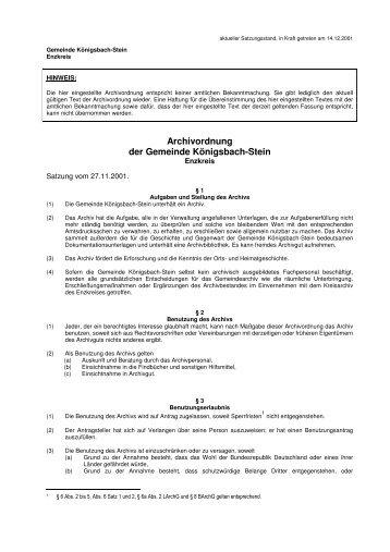 Archivordnung der Gemeinde Königsbach-Stein