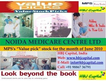 noida medicare centre ltd noida medicare centre ltd - HBJ CAPITAL