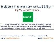 Indiabulls Financial Services Ltd (IBFSL) – - HBJ CAPITAL