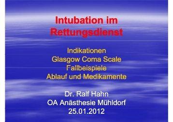 Intubation im Rettungsdienst - Kliniken Mühldorf