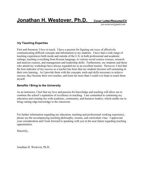 Jonathan H. Westover, Ph.D. Cover Letter/Resume - UVU