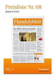 Handelsblatt Preisliste 2013 - iq media marketing