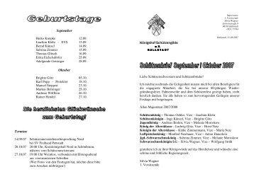 September Oktober Termine Königshof-Schützengilde