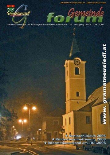 Gemeindeforum 4/07 (0 bytes) - Marktgemeinde Gramatneusiedl