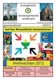 Gemeindebrief 4/2012 - Evangelische Kirche Andernach