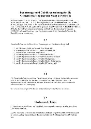 Benutzungs- und Gebührenordnung für die ... - Ulrichstein