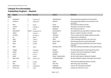 Lifestyle Pre-intermediate English-German Wordlist