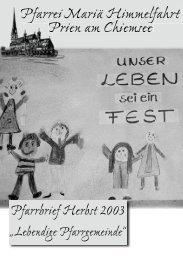 Pfarrbrief Herbst 2003 - Zuhause @ Familie Ganter