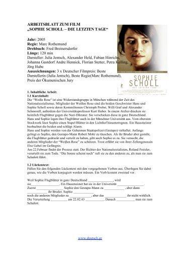"""ARBEITSBLATT ZUM FILM """"SOPHIE SCHOLL – DIE LETZTEN TAGE"""""""