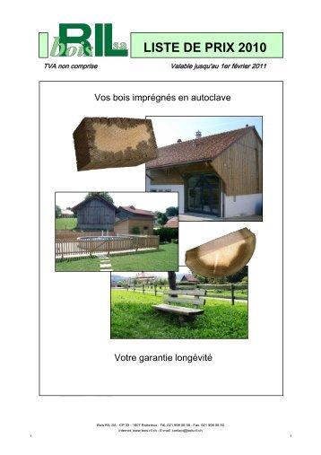 Liste de prix 2010 - Bois-Ril