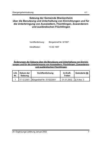 Satzung der Gemeinde Blankenheim über die Errichtung und