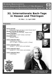 32. Internationale Bach-Tage in Hessen und ... - Bach Cantatas