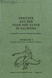 BERICHTE AUS DEM HAUS DER NATUR IN SALZBURG