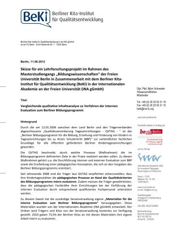 BeKi-Lehrforschungsprojekt zur intenen Evaluation in ...