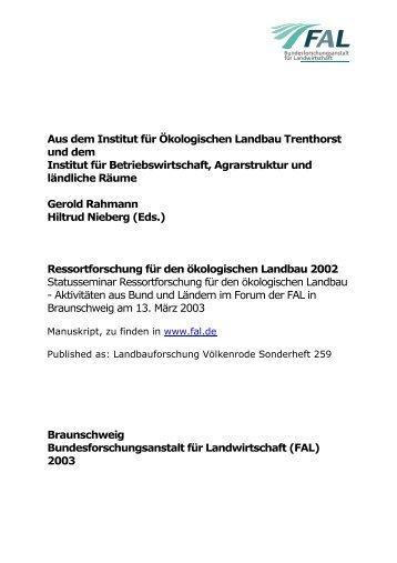 Aus dem Institut für Ökologischen Landbau Trenthorst - vTI