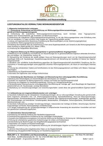 Leistungskatalog WEG - Realset Immobilien und Hausverwaltung