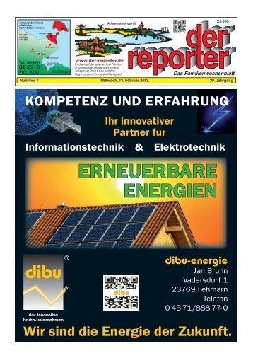 der reporter - Das Familienwochenblatt für Fehmarn 2013 KW 07