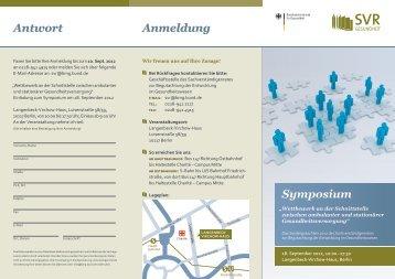 Einladung zum Symposium - Sachverständigenrat zur Begutachtung ...