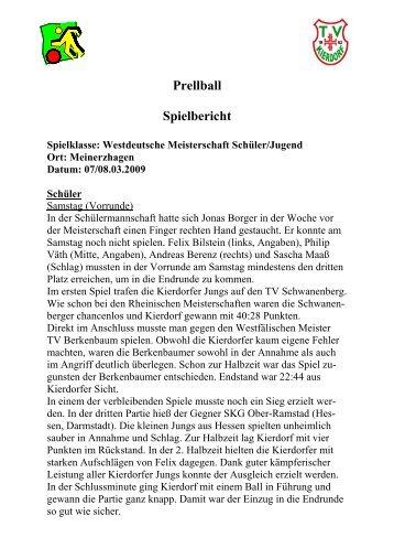 Westdeutsche Meisterschaft Schüler/Jugend - turnverein-kierdorf.de