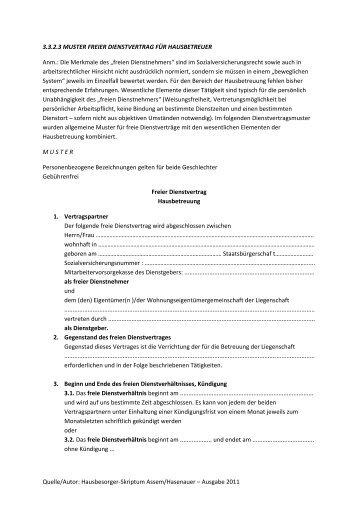 Muster Dienstvertrag