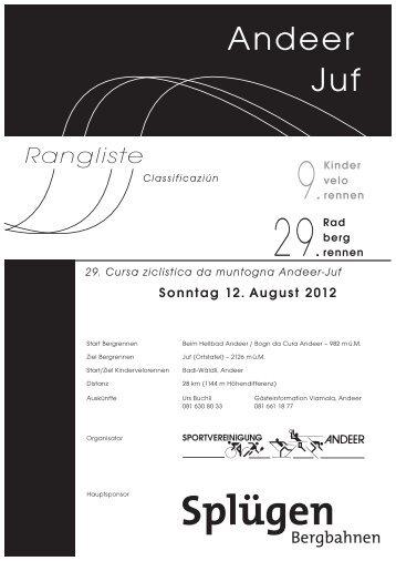 Rangliste - Radbergrennen Andeer-Juf